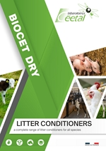 Biocet Dry : litter conditionner for pig, poultry, bovine