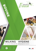 Udder hygiene : a full range to improve milk quality : disinfectant teat dip, foaming teat dips, teat cleaner, cleaner and disinfectant for milking machines